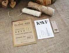 Kraft Wedding Invitation / Rustic Wedding Invitation Suite with bakers twine - Rustic Metallics