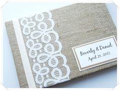 Rustic Barn Burlap Wedding Guest Book (Made to Order). $40.00, via Etsy.