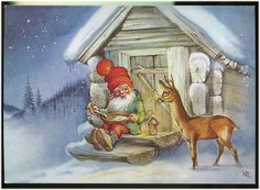 Gnom (Dwarf) is eating soup near house, deer with him, Signed by Lars Carlsson