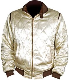 Ryan Gosling Drive Scorpion Jacket  Jacket Specification   Shell: Ivory Diamond Quilted Satin Lining: Polyester Liner Stitching: Premium Stitching Throughout Front Style: Sparkling Golden Zip Closure with Knitted Waist Collar: Knitted Collar Sleeve: Knitted Cuffs Pockets: Two
