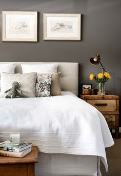warm to cool color; bedroom; bed; pillow; nightstand | Interior Design -er: Collected Interiors