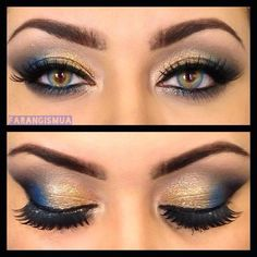 Gold eyeshadow with the pop of blue: