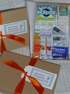 Hangover Kits! This is a great idea! Use burlap bags with ivory tags and navy ribbon. Add mini sunscreen and lip balm