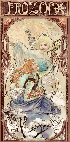Frozen in the Style of Alfons Mucha by YarTzana-Serenade