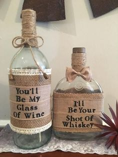 Burlap Wine and Whisky Bottles Rustic Bottle Set Wine Decor Whisky Decor Rustic Decor Wedding Wedding Vases, Diy Wedding, Rustic Wedding, Fall Wedding, Decor Wedding, Country Wedding Decorations, Dream Wedding, Cheap Country Wedding, Wedding Favours