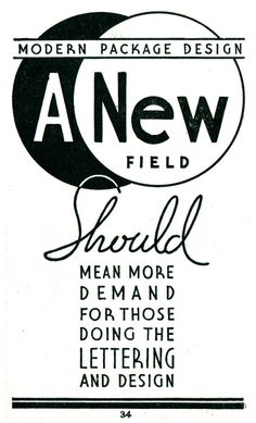 """""""Modern Packaging Design, A New Field, should mean more demand for those doing the lettering and design."""" Welo's Studio Handbook, 1960"""