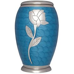 Funeral Urn by Liliane  Cremation Urn for Human or Pet Ashes  Hand Made in Brass  Hand Engraved  Display Urn at Home or in Niche at Columbarium  Talia Model Blue Enamel with Silver FlowerAdult -- Check this awesome product by going to the link at the image.