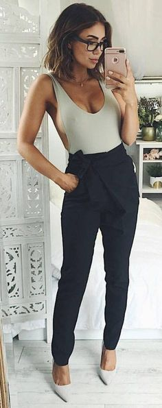 #spring #outfits Grey Bodysuit + Black Skinny Pants and sideboob, Still love these pants I want some so bad