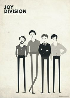 Joy Division: Peter Hook, Ian Curtis, Bernard Sumner and Stephen Morris (by Kike Ibáñez) Ian Curtis, New Wave, Joy Division, Rock Posters, Band Posters, Concert Posters, Movie Posters, Music Is Life, My Music