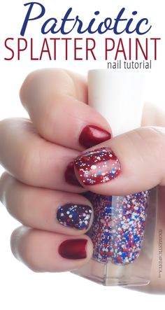 Patriotic Splatter Paint Nail Tutorial