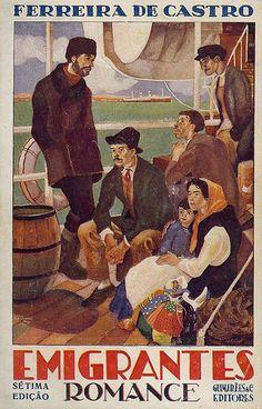 Ilustração, desenhada em 1934 por Jorge Barradas (1894-1971), para a capa da sétima edição (1946) do romance Emigrantes (1928), de Ferreira de Castro (1898-1974). © Rua Onze . Blog