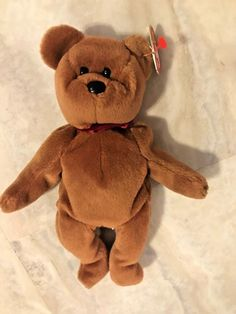 NEW Beanie Baby Authenticated Original TY Teddy Brown Bear 1993 Retired Rare #Ty