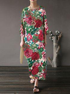 35325dc15324 Women Floral Dress Vintage Loose Maxi Dresses sold out