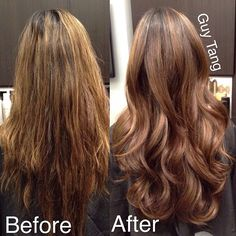 Guy Tang - My new client Christine came in with dried up brassy streaky highlights that I didn't care for so I gloss up her color and gave her my Signature haircut in under 75mins #ombre #ombrehair #californianas #balayage