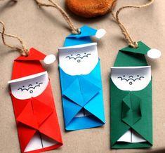 Papai Noel feito com recorte e dobradura - Pra Gente Miúda