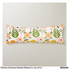 Flowers & Leaves Garden Pattern Body Pillow Floral Pillows, Summer Patterns, Spring Garden, Floral Flowers, Soft Fabrics, Vibrant Colors, Leaves, Texture, Surface Finish