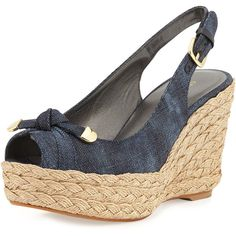 Stuart Weitzman Chatter Knotted Denim Wedge Sandal ($228) ❤ liked on Polyvore featuring shoes, sandals, navy, strappy platform sandals, navy strappy sandals, strappy sandals, stuart weitzman sandals and braided sandals