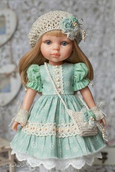 """Paola Reina doll clothes Outfit for doll Dress with lace Boho style green dress Paola Reina Dress for doll 13"""""""