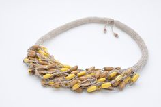 Linen jewelry Eco jewelry Natural linen Art gift linen tread Natural color Linen necklace Wood beads Rustic simple elegant Ecofriendly by FeltNecklace on Etsy