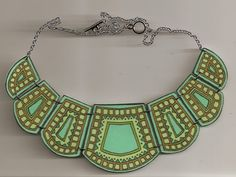 Green Art Deco Bib Necklace by birdqueen on Etsy, $45.00