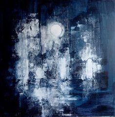 Spectre hivernal - tableau paysage d'hiver sur toile 80X80 cm peinture acrylique : Peintures par clau-mandarine