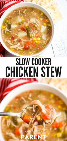 Chicken Stew Crock Pot Recipe for Comfort Food - Make this easy Chicken Stew Crock Pot Recipe any time of the year! It's a healthy recipe that's - Easy Chicken Stew, Slow Cooker Chicken Stew, Chicken Veggie Soup, Crockpot Chicken And Dumplings, Stew Chicken Recipe, Recipe Stew, Healthy Crockpot Recipes, Slow Cooker Recipes, Slow Cooker Huhn