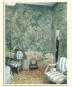 18th century wallpaper in Pauline de Rothschild's Paris apartment bedroom