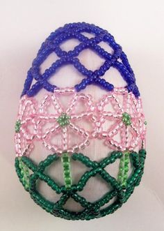 Spring Flower Beaded Easter Egg