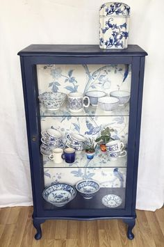 Tall Narrow Glass Display Cabinet with Laura Ashley Wallpaper, Bespoke Hand Painted Furniture, Make a Statement Decor, Gift Ideas for Women Furniture Projects, Furniture Makeover, Diy Furniture, Hand Painted Furniture, Repurposed Furniture, Painted China Cabinets, Inside Cabinets, Furniture Inspiration, Laura Ashley