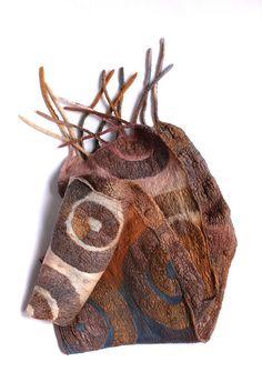 by Marina Shkolnik     - Nuno Felted Scarf    Superfine Australian merino wool, ponge silk fabric.