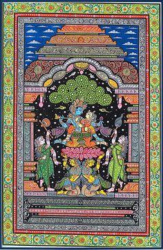 Lord Krishna romances Radha in Madhuban Pattachitra painting (via artreasurehk. Krishna Painting, Krishna Art, Lord Krishna, Pichwai Paintings, Indian Art Paintings, Madhubani Art, Madhubani Painting, Phad Painting, Indian Traditional Paintings