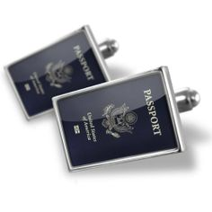 """Neonblond Cufflinks """"American passport / ID card U.S - cuff links for man NEONBLOND Cufflinks. $29.90. Products are Assembled in America. Unique Gift for the Modern Classic Man. Comes with our Free Velvet / Satin Bag. Standard Size is approximately 19mm x 12mm. We have more then 4000 different Cufflinks. Save 50%!"""