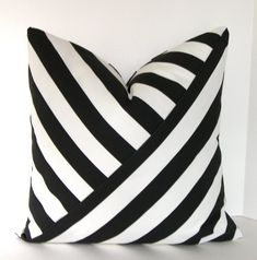 Black and White Stripe Pillow Cover / Accent Pillow / Both Sides – baby pillow toy Baby Pillows, Accent Pillows, Throw Pillows, Black And White Pillows, White Sofas, Pillow Cover Design, Decorative Pillow Covers, Bird Pillow, Home Decor Colors