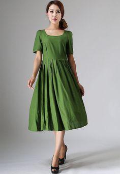 Niedliche Midi Kleid grün Leinenkleid mit der von xiaolizi auf Etsy