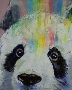 Panda Rainbow by Michael Creese #panda #oilpainting #michaelcreese
