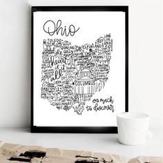 Ohio State Print- Hand Lettered State Print- Ohio Print- State Art- Ohio Gift- Ohio Wall Decor- Ohio Home Decor by WildPreciousPrints on Etsy https://www.etsy.com/listing/580531886/ohio-state-print-hand-lettered-state