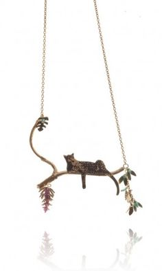 Plumo Lazy Leopard silver and gold necklace. Love!