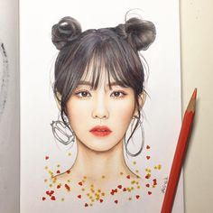 my wrist hurts. Wendy Red Velvet, Red Velvet Irene, Kpop Drawings, Cute Drawings, Red Valvet, Korean Painting, Fan Art, Color Pencil Art, Realistic Drawings