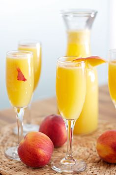 Peach Mimosas ( 2/3 cup of grenadine. Spoon 1 tablespoon of grenadine syrup into 10 champagne glasses. )