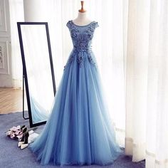Scoop Neckline Blue Appliques Long A-line Tulle Elegant Prom Dresses, BG0280 The dress is fully lined, 4 bones in the bodice, chest pad in the bust, lace up back or zipper back are all available, tota