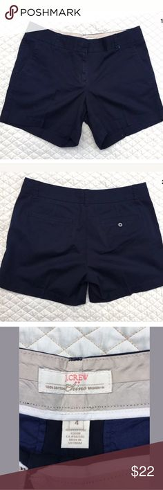 J. Crew Chino Blue 100% Cotton Shorts Size 4 Summer is here! In great condition dark blue J. Crew Chino shorts. Size 4. Waist measures inches. Rise 9 inches. Inseam 5 inches. Leg opening 11 inches. J. Crew Shorts