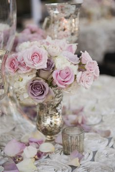 Pastel roses and hydrangea centerpiece | Brandy J Photography | Theknot.com