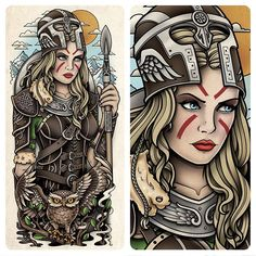 """""""This a is a half sleeve tattoo design of Nordic take on the goddess athena. Which I designed for Rob Lennox. #athena #nordic #norway #helm #helmet…"""""""
