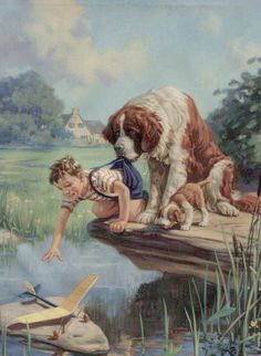 Helper  Dog holding boy by the pants preventing him from falling in the river