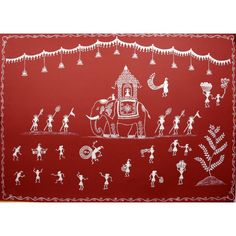 Warli men and women dancing to the 'tarpa' and other tribal instruments, in the witness of a royal procession. Rendered on a traditional red background, this is a beautiful work of art. Madhubani Art, Madhubani Painting, Indian Wall Art, Worli Painting, Art Village, Indian Art Paintings, Cool Art Drawings, Hand Painted Rocks, Quilling Art