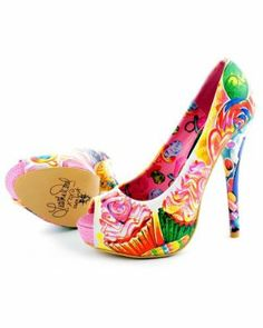 Iron Fist Sweets For My Sweet Platform Heel.  cupcake print in yellow, pink'