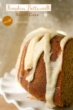 Pumpkin Buttermilk Bundt Cake with Brown Butter Icing Recipe ~ Moist, dense and delicious!