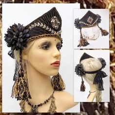 Your place to buy and sell all things handmade Headdress, Headpiece, Festival Costumes, Blue Fairy, Tribal Belly Dance, Boho Headband, Tribal Fusion, Black Flowers, Head Shapes