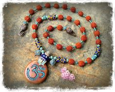 Happy BUDDHA OM necklace yoga jewelry Long necklace by GPyoga, $98.00