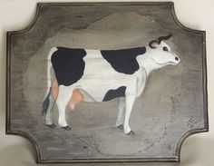 How Mow Black and White Cow Folk Art Country by HoleyGwackamoley, $15.00